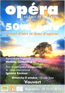 Opéra - 50ème gala - Concert d'airs et duos d'opéras